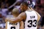 Boris Diaw #33 and Tony Parker #9 of the San Antonio Spurs
