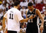 Jeff Ayres #11 celebrates with Tim Duncan #21 of the San Antonio Spurs
