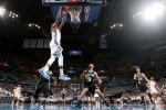 Kevin Durant #35 of the Oklahoma City Thunder goes up for a dunk