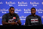 LeBron James #6 and Dwyane Wade #3 of the Miami Heat