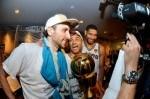 Manu Ginobili #20, Tony Parker #9, and Tim Duncan #21 of the San Antonio Spurs