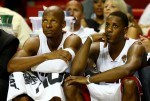 Ray Allen #34 and Mario Chalmers #15 of the Miami Heat