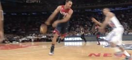 Vidéo : la superbe no look pass dans le dos de Stephen Curry pour le dunk de James Harden