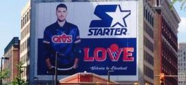 Photo : un panneau géant pour accueillir Kevin Love à Cleveland