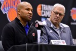 The New York Knicks Host Press Conference with Head Coach Derek Fisher, Team President Phil Jackson and Team General Manager Steve Mills