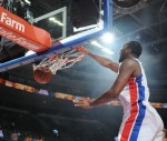 Andre Drummond #0 of the Detroit Pistons dunks