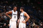 Andrew Wiggins #22 of the Minnesota Timberwolves and teammate Ricky Rubio #9