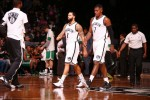 Deron Williams #8 and Joe Johnson #7 of the Brooklyn Nets