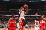 Derrick Rose #1 of the Chicago Bulls shoots against the Washington Wizards