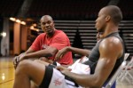 Dwight Howard works out with Hakeem Olajuwon
