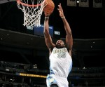 Kenneth Faried #35 of the Denver Nuggets dunks a