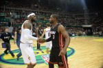 LeBron James #23 of the Cleveland Cavaliers and Dwyane Wade #3 of the Miami Heat