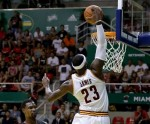 LeBron James #23 of the Cleveland Cavaliers dunk