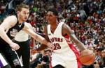Lou Williams #23 of the Toronto Raptors drives against Nik Stauskas #10 of the Sacramento Kings