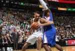 Rudy Gobert #27 of the Utah Jazz goes to the basket against the Los Angeles Clippers