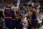 Shavlik Randolph #43, Isaiah Thomas #3 and Gerald Green #14 of the Phoenix Suns