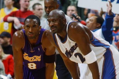 Kobe Bryant rests next to Michael Jordan