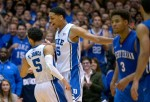 Tyus Jones #5 and Jahlil Okafor #15 of the Duke Blue Devils