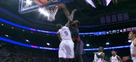 Andre Drummond monte sur Serge Ibaka pour le poster