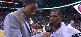 Insolite : DeMar DeRozan interviewe Kyle Lowry après la victoire des Raptors