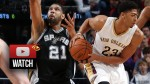 Les highlights du duel Anthony Davis (22 pts 12 rebs 5 contres) / Tim Duncan (20 pts 11 rebs)