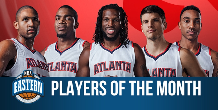 Paul Millsap, Jeff Teague, Al Horford, Kyle Korver et DeMarre Carroll.