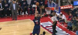 Andre Drummond contre la tentative de dunk de Marcin Gortat