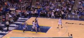 Le moonwalk de Stephen Curry après son tir à trois points