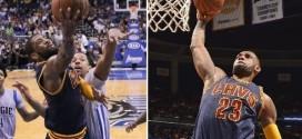 Les highlights du trio LeBron James (21 pts, 13 asts), Kyrie Irving (33 pts à 12/15) et Jr Smith (25 pts)