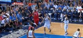 Josh Smith déborde Dirk Nowitzki, s'envole et obtient la faute