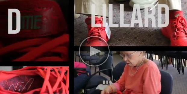 Vidéo : Damian Lillard distribue sa signature shoe dans une maison de retraite