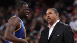 PORTLAND, OR - OCTOBER 19:  Mark Jackson of the Golden State Warriors talks with Draymond Green #23 during the game against the Portland Trail Blazers on October 19, 2012 at the Rose Garden Arena in Portland, Oregon. NOTE TO USER: User expressly acknowledges and agrees that, by downloading and or using this photograph, user is consenting to the terms and conditions of the Getty Images License Agreement. Mandatory Copyright Notice: Copyright 2012 NBAE (Photo by Sam Forencich/NBAE via Getty Images)