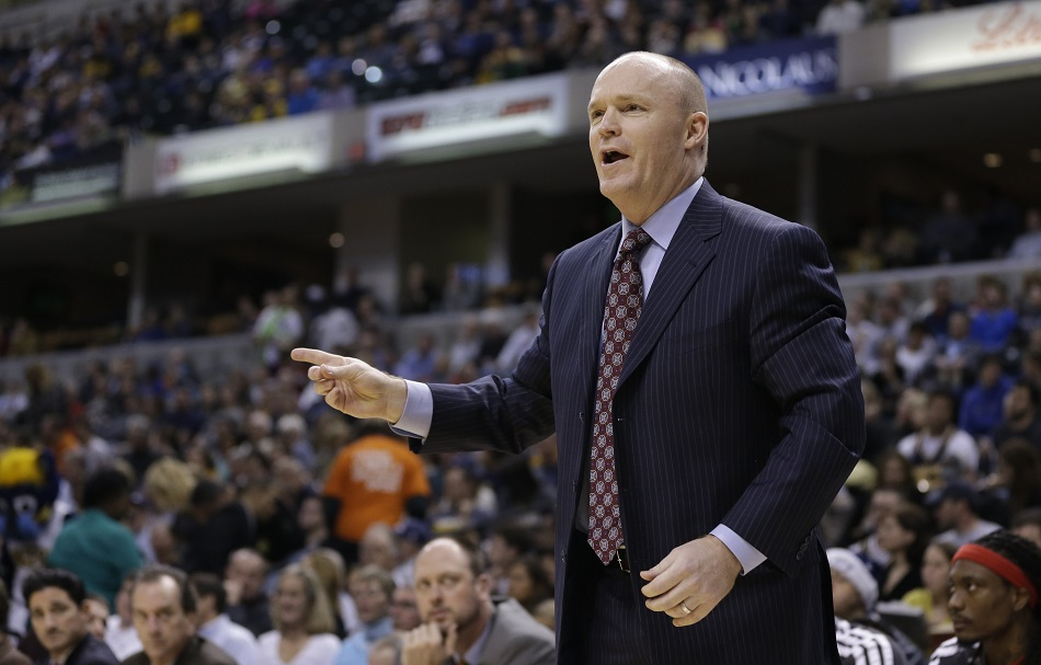 Milwaukee Bucks head coach Scott Skiles questions a call during the first half of an NBA basketball game against the Indiana Pacers Saturday, Jan. 5, 2013, in Indianapolis. (AP Photo/Darron Cummings)
