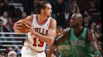 CHICAGO, IL - DECEMBER 18:  Joakim Noah #13 of the Chicago Bulls gets ready to drive on Kevin Garnett #5 of the Boston Celtics on December 18, 2012 at the United Center in Chicago, Illinois. NOTE TO USER: User expressly acknowledges and agrees that, by downloading and/or using this photograph, user is consenting to the terms and conditions of the Getty Images License Agreement.  Mandatory Copyright Notice: Copyright 2012 NBAE (Photo by Gregory Shamus/NBAE via Getty Images)