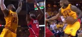 LeBron James bâche DeMarre Carroll et enchaîne avec un superbe spin move