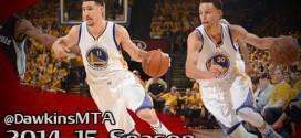 Les highlights du duo Stephen Curry (22 points et 7 passes) – Klay Thompson (18 points et 6 passes)