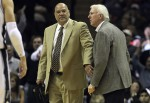 Spurs head coach Gregg Popovich (right) gets restrained by assistant coach Don Newman as Popovich gets ejected from the game against Minnesota Timberwolves at the AT&T Center on Friday, Dec. 3, 2010. Spurs defeated the Timberwolves, 107-101. Kin Man Hui/kmhui@express-news.net