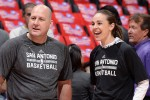 LOS ANGELES, CA - APRIL 22: Assistant coaches Jim Boylen and Becky Hammon before a game against the San Antonio Spurs in Game Two of the Western Conference Quarterfinals during the 2015 NBA Playoffs on April 22, 2015 at Staples Center in Los Angeles, California. NOTE TO USER: User expressly acknowledges and agrees that, by downloading and or using this Photograph, user is consenting to the terms and conditions of the Getty Images License Agreement. Mandatory Copyright Notice: Copyright 2015 NBAE (Photo by Andrew D. Bernstein/NBAE via Getty Images)