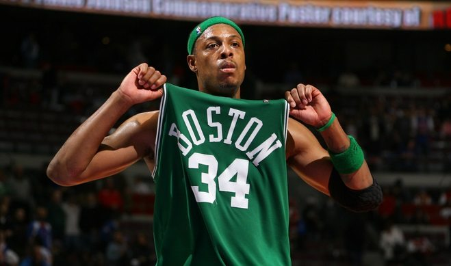 AUBURN HILLS, MI - JANUARY 5:   Paul Pierce #34 of the Boston Celtics celebrates against the Detroit Pistons during the game on January 5, 2008 at the Palace at Auburn Hills in Auburn Hills, Michigan. NOTE TO USER: User expressly acknowledges and agrees that, by downloading and/or using this photograph, user is consenting to the terms and conditions of the Getty Images License Agreement.  Mandatory Copyright Notice: Copyright 2007 NBAE (Photo by Jesse D. Garrabrant/NBAE via Getty Images)