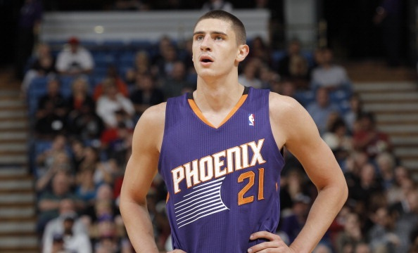 SACRAMENTO, CA - OCTOBER 17: Alex Len #21 of the Phoenix Suns in a game against the Sacramento Kings on October 17, 2013 at Sleep Train Arena in Sacramento, California. NOTE TO USER: User expressly acknowledges and agrees that, by downloading and or using this photograph, User is consenting to the terms and conditions of the Getty Images Agreement. Mandatory Copyright Notice: Copyright 2013 NBAE (Photo by Rocky Widner/NBAE via Getty Images)