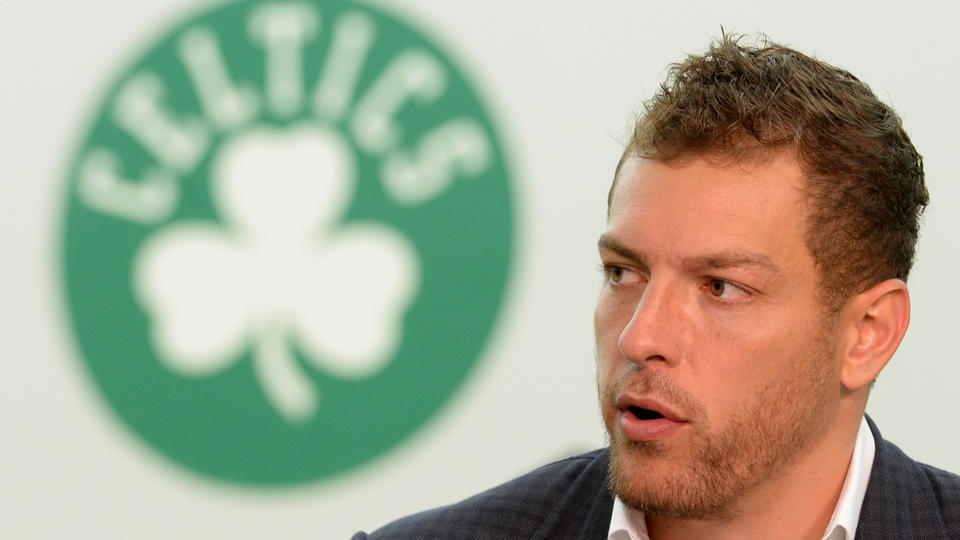 (Waltham, MA, 07/27/15) David Lee talks to members of the media after his introduction as a new member of the Boston Celtics at the Boston Celtics Training Center at Healthpoint in Waltham on Monday, July 27, 2015. Staff photo by Christopher Evans