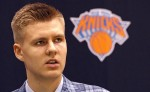 6/26/15 - Knicks 1st round pick Kristaps Porzingis, during a press conference where he was introduced to the media this morning at the New York Knicks training facility in Greenburgh, New York.