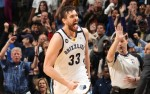 MEMPHIS, TN - MARCH 20: Marc Gasol #33 of the Memphis Grizzlies celebrates during the game against the Oklahoma City Thunder on March 20, 2013 at FedExForum in Memphis, Tennessee. NOTE TO USER: User expressly acknowledges and agrees that, by downloading and or using this photograph, User is consenting to the terms and conditions of the Getty Images License Agreement. Mandatory Copyright Notice: Copyright 2013 NBAE (Photo by Joe Murphy/NBAE via Getty Images)