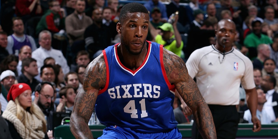 MILWAUKEE, WI -  FEBRUARY 25: Thomas Robinson #41 of the Philadelphia 76ers handles the ball against the Milwaukee Bucks on February 25, 2015 at BMO Harris Bradley Center in Milwaukee, Wisconsin . NOTE TO USER: User expressly acknowledges and agrees that, by downloading and or using this Photograph, user is consenting to the terms and conditions of the Getty Images License Agreement. Mandatory Copyright Notice: Copyright 2015 NBAE (Photo by Gary Dineen/NBAE via Getty Images)