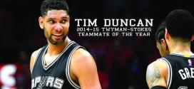 Tim Duncan élu coéquipier de l'année