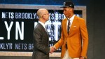 overall in the First Round of the 2015 NBA Draft at the Barclays Center on June 25, 2015 in the Brooklyn borough of  New York City. NOTE TO USER: User expressly acknowledges and agrees that, by downloading and or using this photograph, User is consenting to the terms and conditions of the Getty Images License Agreement.