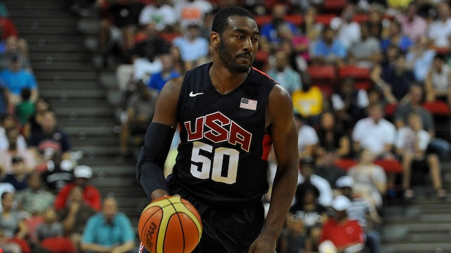 Jul 25, 2013; Las Vegas, NV, USA; USA Blue Team guard John Wall dribbles the ball during the 2013 USA Basketball Showcase at the Thomas and Mack Center. Team White won the game 128-106. Mandatory Credit: Stephen R. Sylvanie-USA TODAY Sports