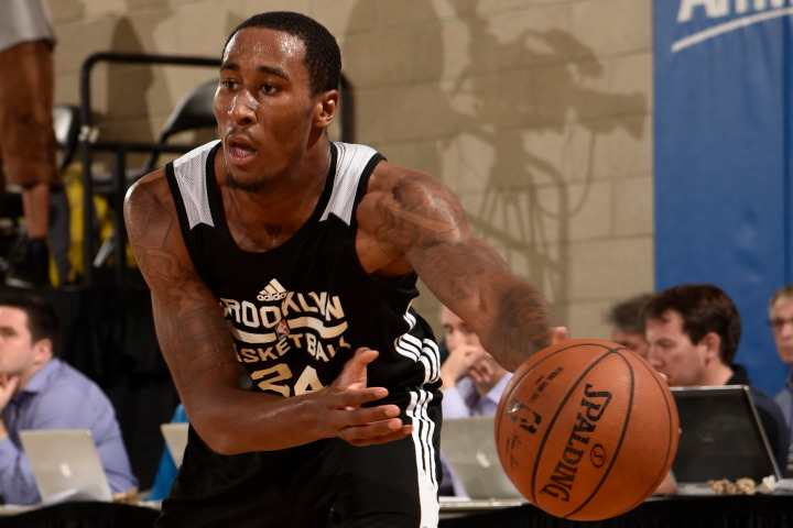 ORLANDO, FL - JULY 5: Rondae Hollis-Jefferson #24 of the Brooklyn Nets passes the ball against the Miami Heat on July 5, 2015 at Amway Center in Orlando, Florida. NOTE TO USER: User expressly acknowledges and agrees that, by downloading and or using this photograph, User is consenting to the terms and conditions of the Getty Images License Agreement. Mandatory Copyright Notice: Copyright 2015 NBAE  (Photo by Fernando Medina/NBAE via Getty Images)