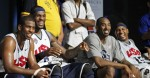 USA Basketball Men's National Team guard Chris Paul, left, forward LeBron James, guard Kobe Bryant, and forward Carmelo Anthony laugh during a break in practice Saturday, July 14, 2012 in Washington. (AP Photo/Alex Brandon)