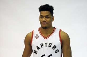 Sep 28, 2015; Toronto, Ontario, Canada; Toronto Raptors guard-forward Axel Toupane (66) during the media day at the Air Canada Centre. Mandatory Credit: Peter Llewellyn-USA TODAY Sports